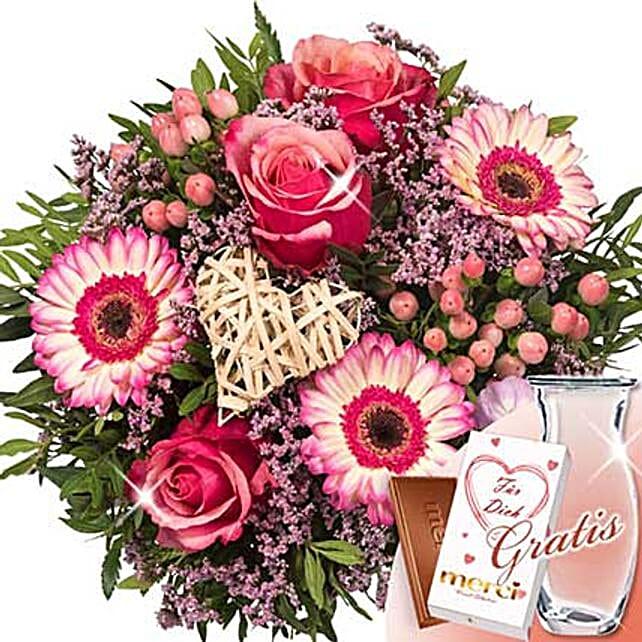 Flower Bouquet Herzklopfen With Vase and Merci
