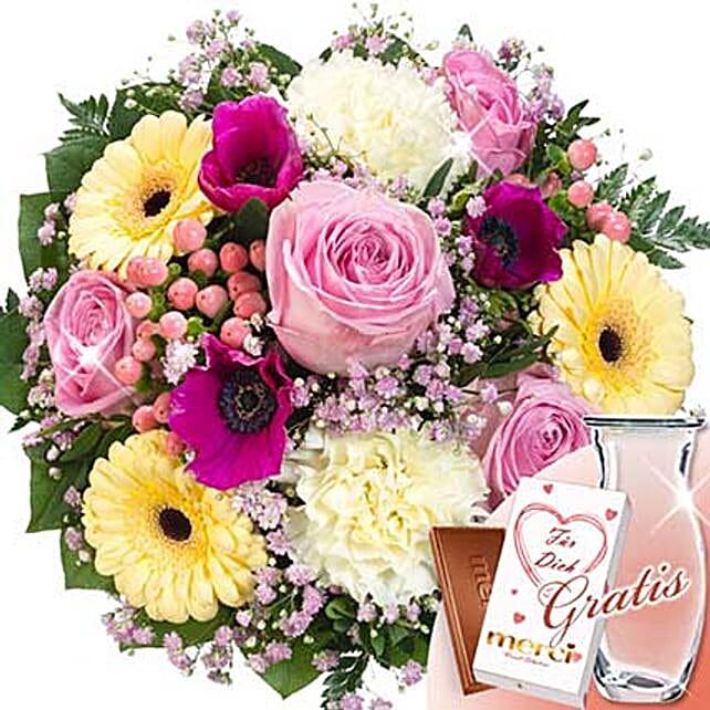 Flower Bouquet Liebesbrief With Vase and Merci