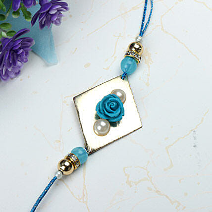 Blue Rose with Pearl Rakhi HKG