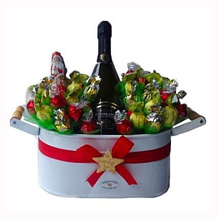 Christmas Sweet Flowerbed with Sparkling Wine