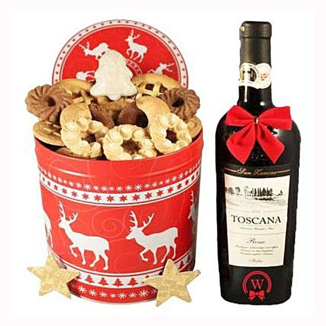 Christmas Tin Box With Red Tuscan