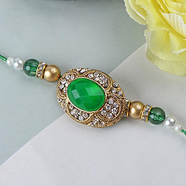 Green Emerald Stone Rakhi INDO