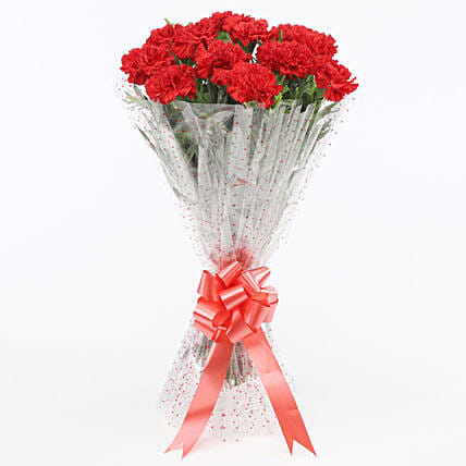12 glorious red carnations bouquet gift online bouquet of