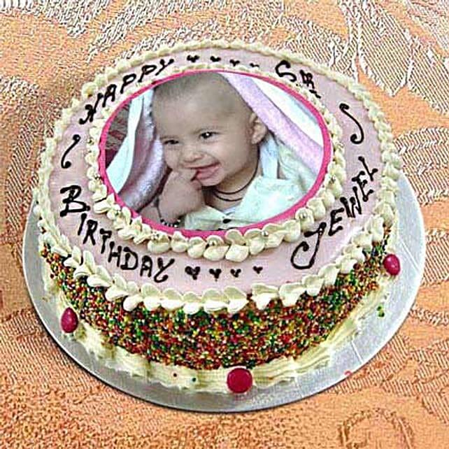 1kg Photo Cake Vanilla Sponge Eggless