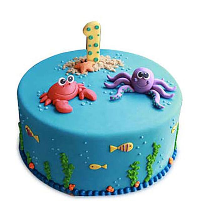 Baby Sea Animals Cake 2kg Eggless Pineapple