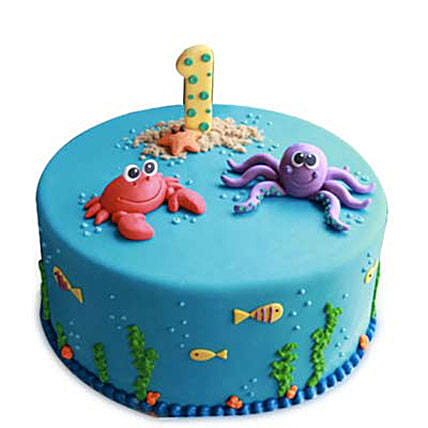 Baby Sea Animals Cake 4kg Eggless Black Forest