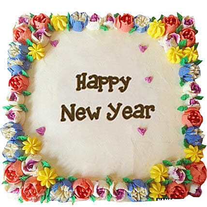 Beautiful Happy New Year Cream Cakes Half kg Eggless