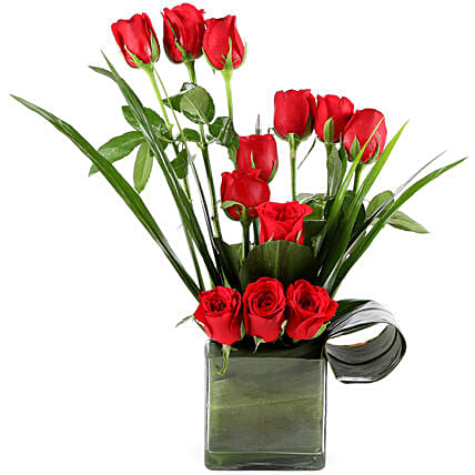 Beautiful Red Roses Vase Arrangement Gift Red Romance Gifts