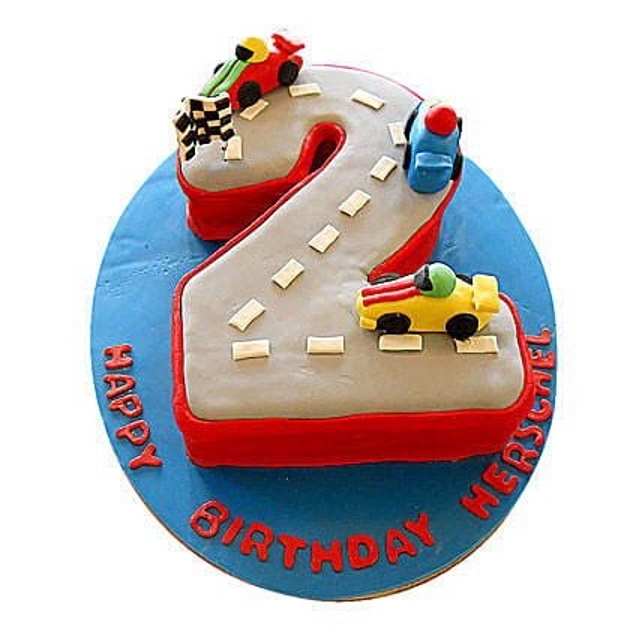 Car Race Birthday Cake 2kg Eggless Pineapple