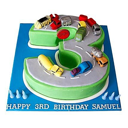Cars Birthday Cake 2kg Eggless Butterscotch