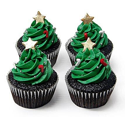 Christmas Tree Cupcakes 6 Eggless