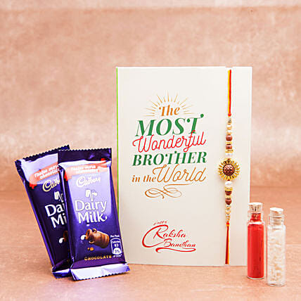 Rakhi Gifts with Chocolates Dairy Milk And Rakhi Combo