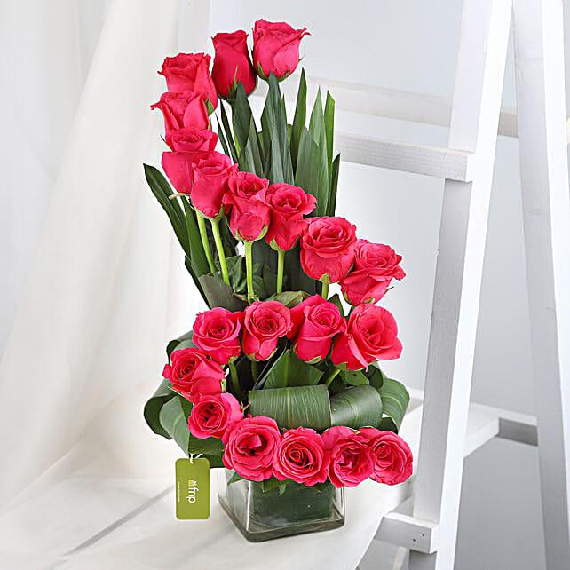 Dark Pink Roses Arrangement Gift Pink Roses Bouquet