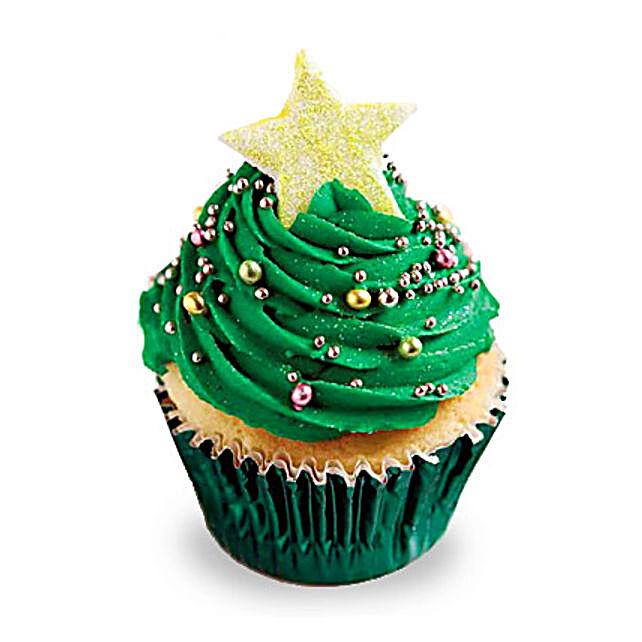 Decorative Christmas Tree Cupcakes 6 Eggless