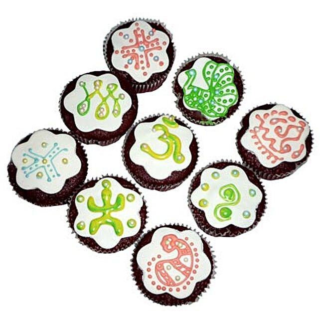 Designer Om Cupcakes 6 Eggless