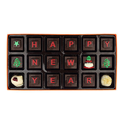 happy new year message chocolate box