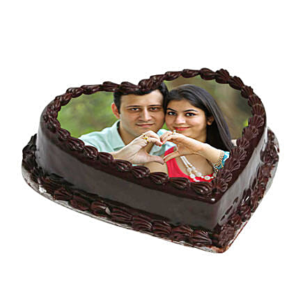Heart Shape Photo Chocolate Cake 2kg Eggless
