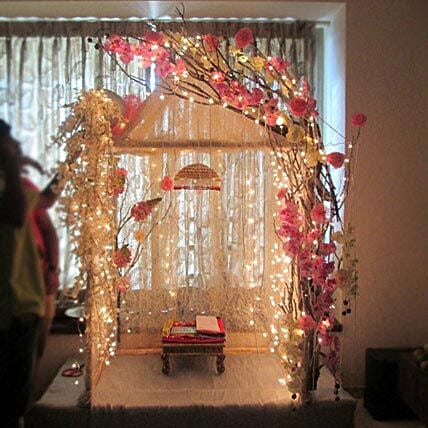 Ganpati Decoration With Curtains Image Collections