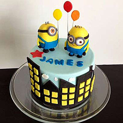 Minions with balloons 3kg Chocolate Eggless