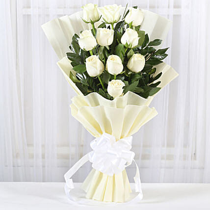 Pristine white roses bunch gift purity bunch of 10 white roses pristine white roses bunch mightylinksfo