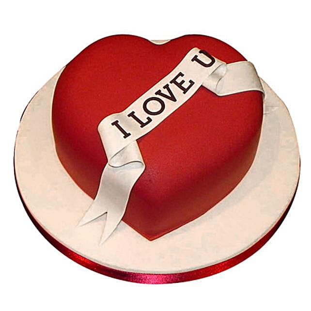 Red Heart love you Valentine cake 1kg Eggless Vanilla