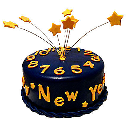 Starry New Year Cake 4kg Eggless