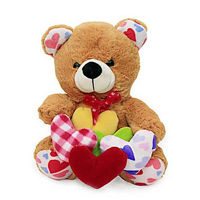 Teddy with many hearts