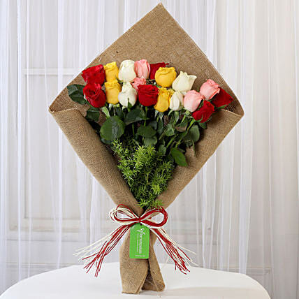 Mixed Roses In Jute Wrapping