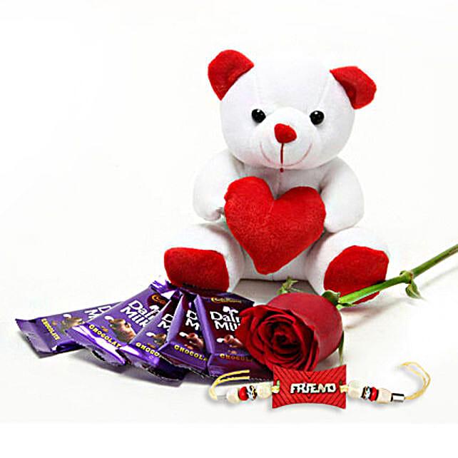 Gift Hamper Of Cute Single Red Rose Stem 5 Cadbury Dairy Milk Chocolate And