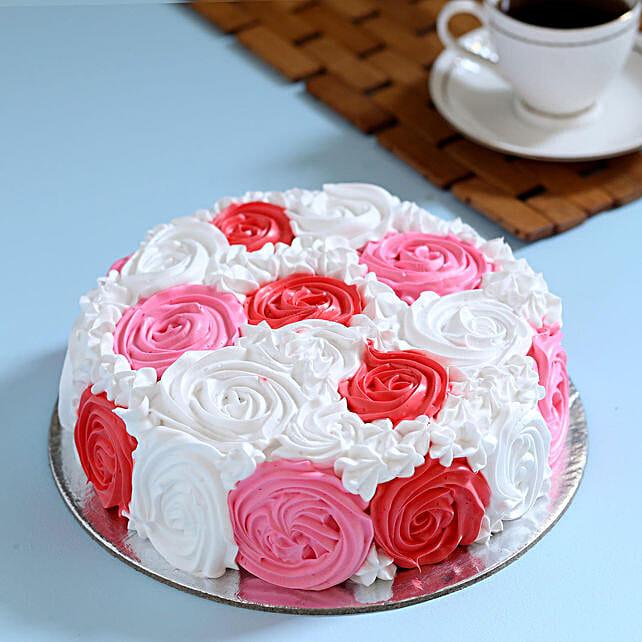 Yummy Colourful Rose Cake 2 Kg Eggless Vanilla
