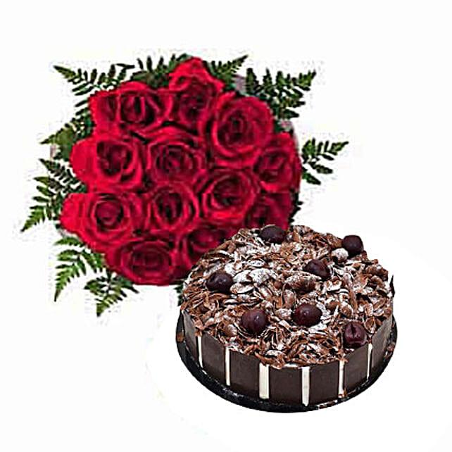 1 Dozen Roses with Cake