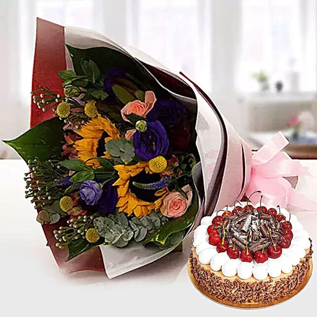 Alluring Flower Bouquet With Blackforest Cake