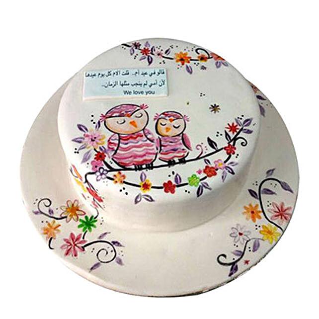 Birthday Owl Cake with Flowers