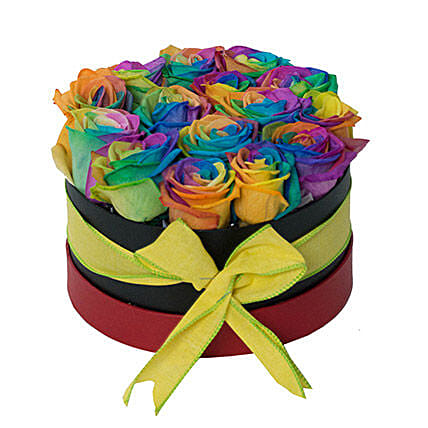Fresh Rainbow Rose Box