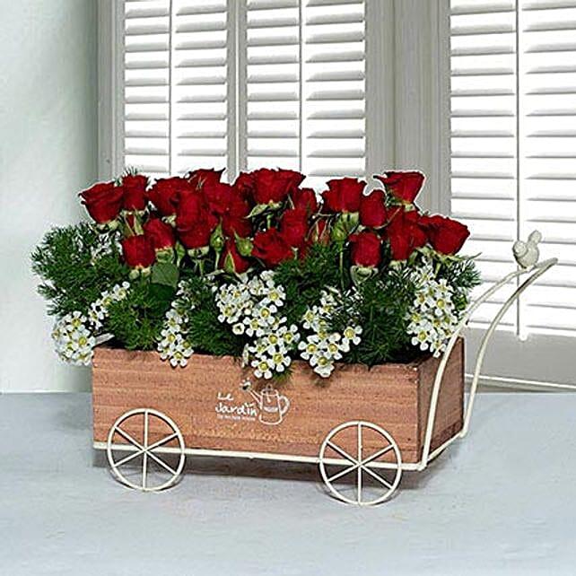 Joyous Wooden Truck Flower Arrangement
