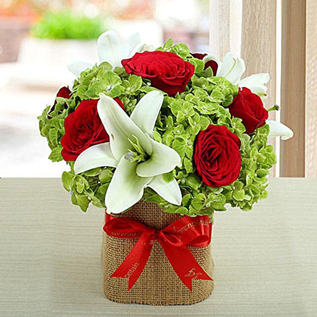 Lovely Roses N Hydrangea Arrangement