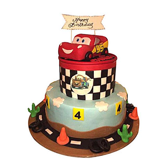 McQueen Car Circuit Cake