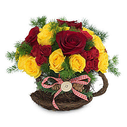 Radiant Red N Yellow Roses Arrangement