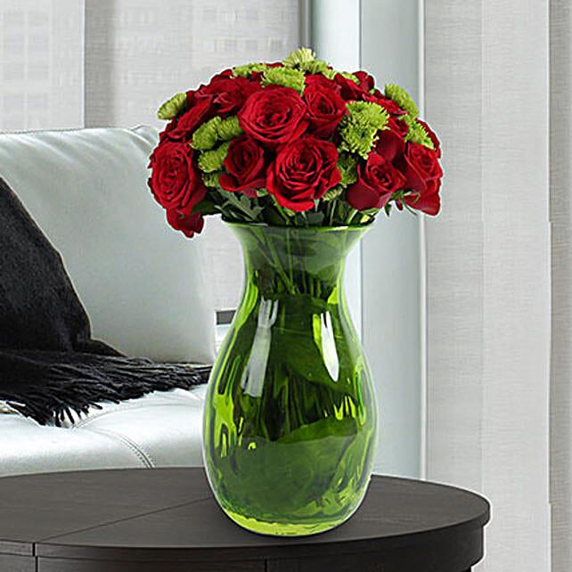 Roses N Chrysanthemums Vase Arrangement In Uae Gift Roses N