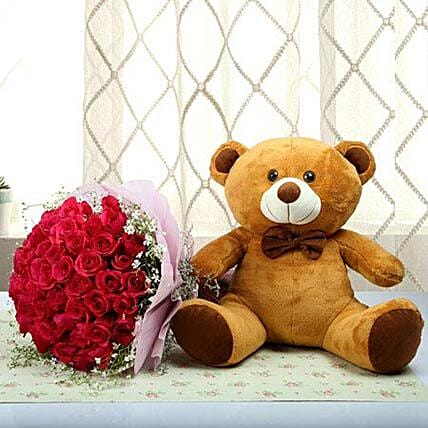 Teddy With Red Roses