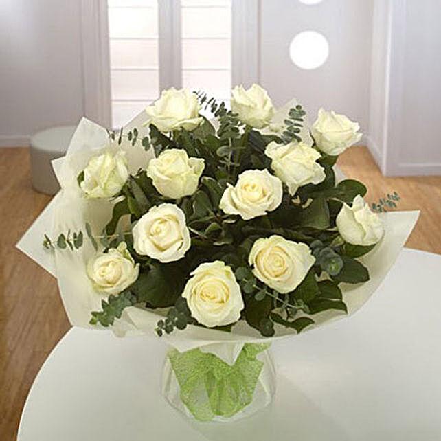 White Roses Bouquet Premium