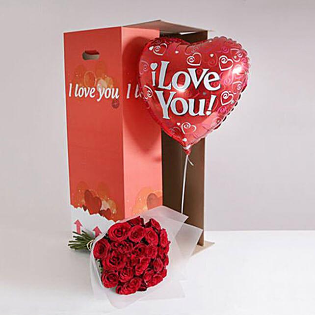24 Burgundy Roses I Love You Gift Set