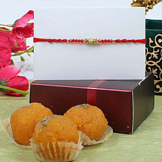 Red Crystal Diamond Rakhi with Ladoos