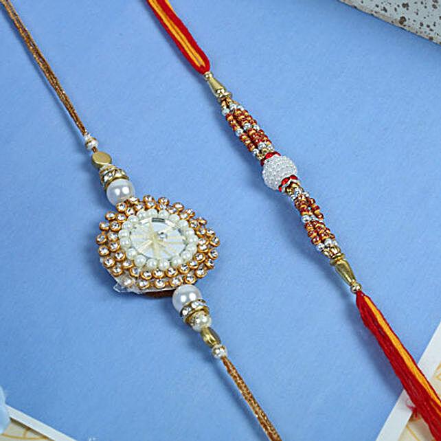 Stunning white moti rakhi set