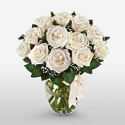 12 Long Stem White Roses
