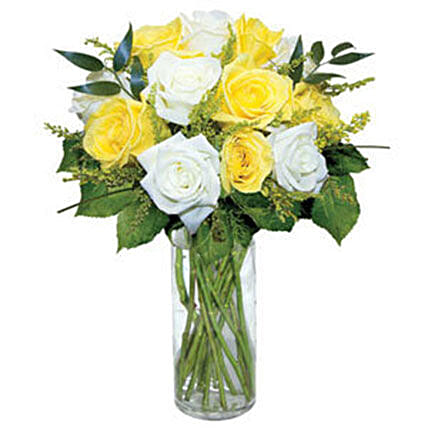 12 Long Stem Yellow and White Roses