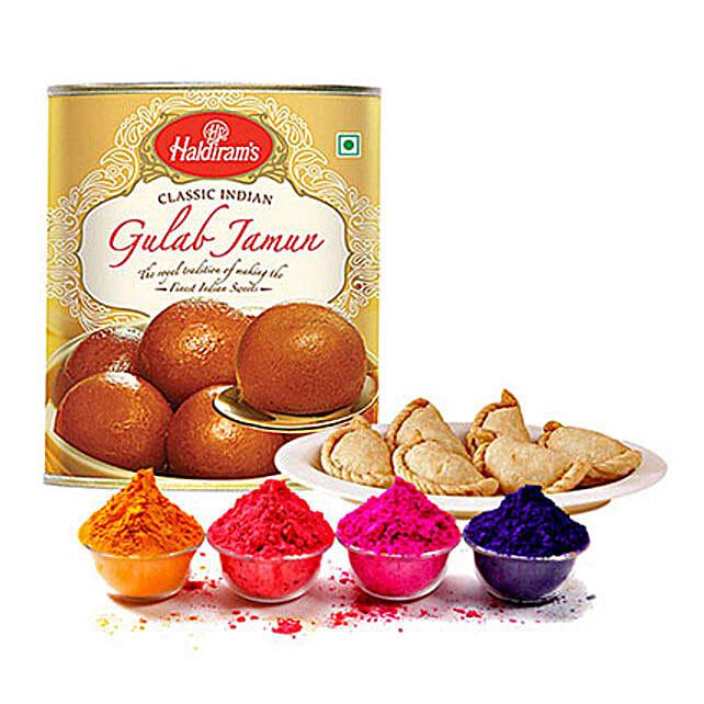 4 Shades of Holi Gulal with Gujiya and Gulab Jamun