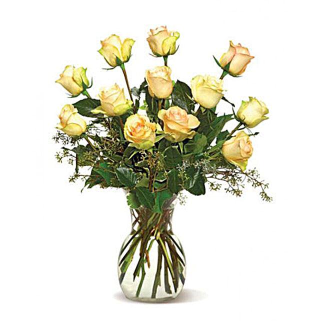 A Dozen Cream Roses