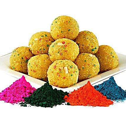 Boondi Laddoo with 4 Shades of Colorful Gulal