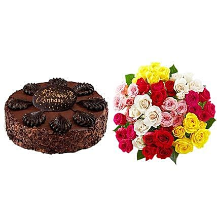 Chocolate Cake with Assorted Roses